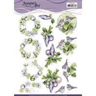 3D Knipvel - Jeanine's Art - Purple Christmas Baubles 11539