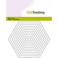 CraftEmotions Die - randen recht Hexagon Card 11x14cm