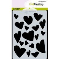 CraftEmotions Mask stencil Love Puns - harten A6 Carla Creaties (01-21)
