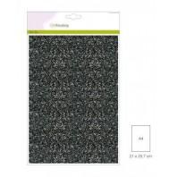 Glitter Papier zwart, 5 vel A4