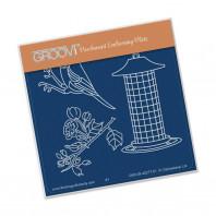 Groovi Plate A6 SMALL GARDEN BIRD WITH FEEDER GRO-BI-40277-01