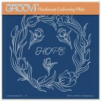 LINDA WILLIAMS' GROOVI CONTOURS - TULIPS FLORAL FRAME - A5 SQUARE GROOVI PLATE 41992