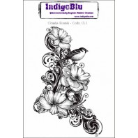 IndigoBlu Stamp Clematis Fourish mounted A6