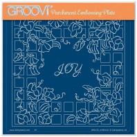 LINDA WILLIAMS' GROOVI CONTOURS - SWEET PEA FLORAL FRAME - A5 SQUARE GROOVI PLATE 41993