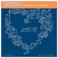 LINDA WILLIAMS' GROOVI CONTOURS - ROSE HEART FRAME - A5 SQUARE GROOVI PLATE 41991