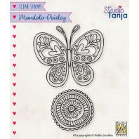 Nellies Choice Clearstamp Mandala - Paisley vlinder CSMAN011 53x47mm