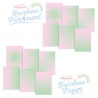 Perkamentpapier regenboog is transparant perkamentpapier met een kleurenverloop. Het verloop van de kleuren maakt dit papier zeer geschikt als inlegvel of binnenkaart