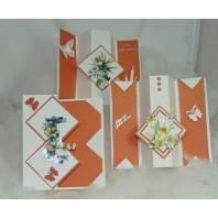 Pakket kaarten perkamentpapier 3 warm oranje