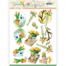 3D Push Out - Jeanine's Art Welcome Spring - Orange Tulips 10528
