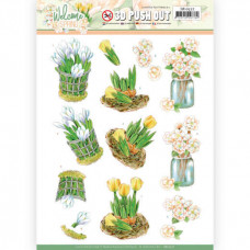 3D Push Out - Jeanine's Art Welcome Spring - Yellow Tulips 10527