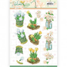 3D Knipvel - Jeanine's Art Welcome Spring - Yellow Tulips 11631