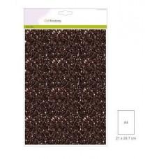 Glitter Papier bruin, 5 vel A4