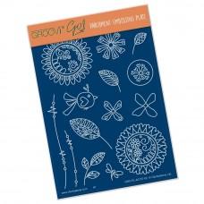 Groovi Plate Tina's Doodle Flowers 2