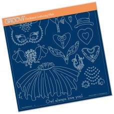 Groovi Plate WEDDING OWL ACCESSORIES  A4 Square