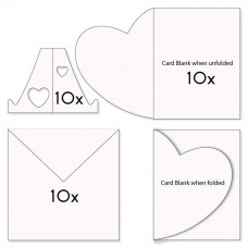 FOLDED HEART CARD BLANKS, ENVELOPES & STANDS