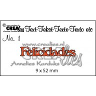 Crealies Tekststans (ES) nr 1  Felicidades 9x52mm  / CLES01
