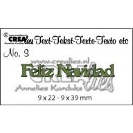 Crealies Tekststans (ES) nr 3  Feliz Navidad 9x22-9x39mm  / CLES03