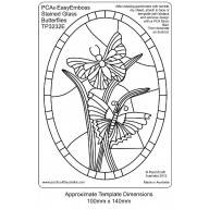PCA EasyEmbossing Template Stained Glass Oval Butterfly TP3232E