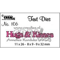 Crealies tekststans (Eng) nr. 106 Hugs & Kisses 11x26 - 8x9 - 9x32 mm  / CLTD106