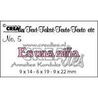 Crealies Tekststans (ES) nr 5  Es una niña 9x14-9x19-9x22mm  / CLES05