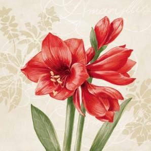 CraftEmotions servetten 5st - Rode amaryllis creme 33x33cm Ambiente 13307015