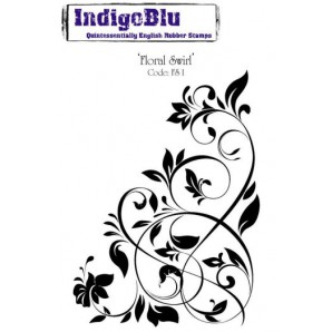 IndigoBlu Stamp Floral Swirl mounted A6