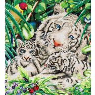 DIAMOND DOTZ White Tiger & Cubs DD10.006