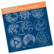 Groovi Plate LINDA'S 123 - POINSETTIA, MISTLETOE & PINE   A5