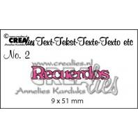 Crealies Tekststans (ES) nr 2  Recuerdos 9x51mm  / CLES02