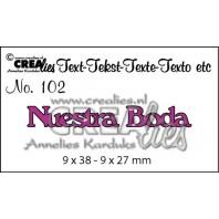 Crealies Tekststans (ES) nr 102  Nuestra Boda 9x38-9x27mm  / CLES102